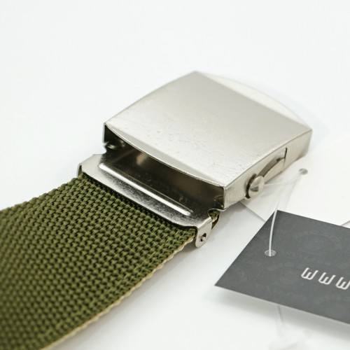 Extra Long Reversible Casual Belt - Green/Beige