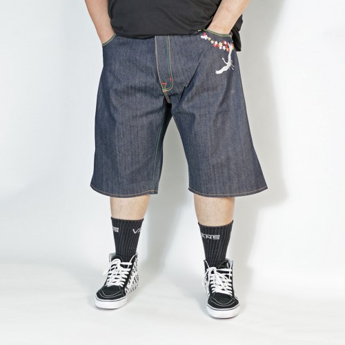 Embroidered Devil Denim Shorts - Indigo