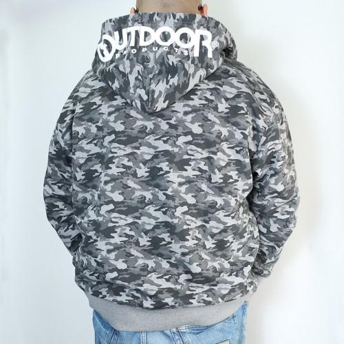 Camouflage Pattern Full-zip Parka - Grey