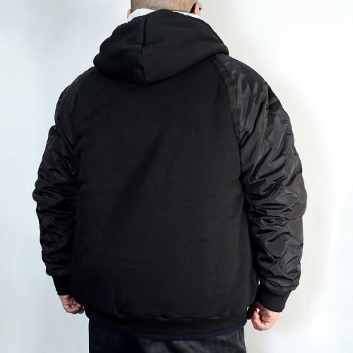 Nylon Sleeve Quilted Jacket - Black