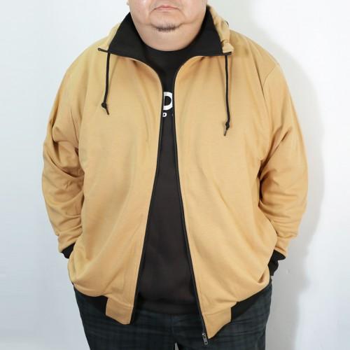 Plain Color Volume Neck Jacket - Khaki