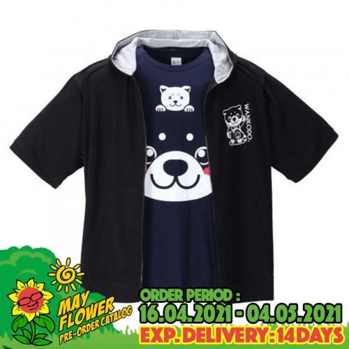 Cute Shiba Head Full Zip Hoodie Set - Black/Navy