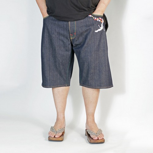 Embroidered Switching AKASARUGUMI Denim Shorts - Indigo